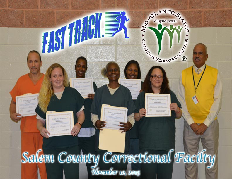 Inmates at Salem County Correctional Facility showing off their certificates