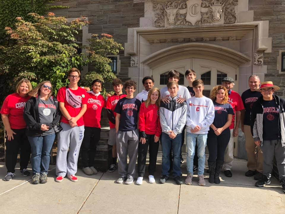 High School students in front of Cornell University entrance